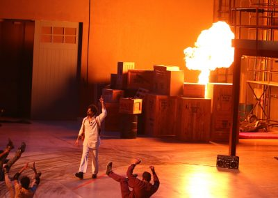 Flame EFX in the Dabangg Stunt Spectacular at Bollywood Parks in Dubai.